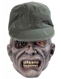 Zombie Halloween-Maske mit Mütze grün-grau