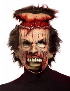 Zombie Skalp-Maske mit Perücke Halloween haut-rot