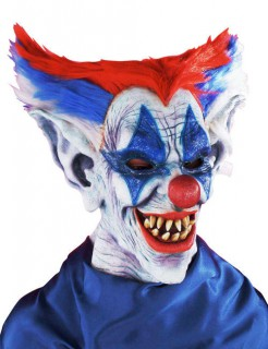 Horror-Clown Halloween-Maske weiss-blau-rot