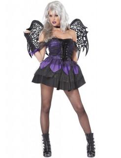 Gothic-Fee-Kostüm Halloween-Damenkostüm schwarz-lila