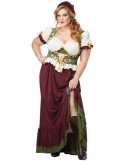 Mittelalter Magd übergröße Damenkostüm grün-weinrot