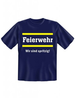 T-Shirt Feierwehr Funshirt blau-weiss-gelb