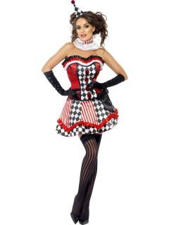 Vintage Harlekin Damenkostüm rot-schwarz-weiss