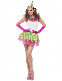Clown Kostüm-Set für Damen 3-teilig bunt
