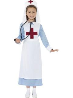 Krankenschwester Kinderkostüm blau-weiss