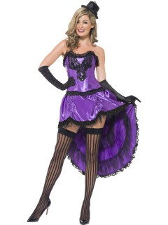 Burlesque Showgirl Damenkostüm violett-schwarz