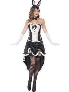 Burlesque Bunny Showgirl Damenkostüm weiss-schwarz