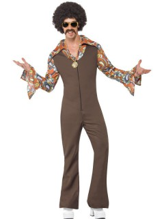 70er Disco Kostüm Jumpsuit braun
