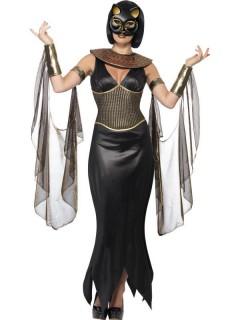 ägyptische Katzengöttin Damenkostüm schwarz-gold