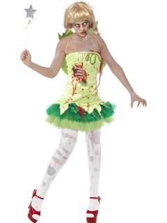 Zombie Fee Halloween Damenkostüm grün