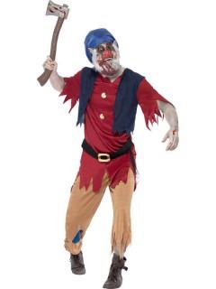 Zombie Zwerg Halloween-Kostüm blau-rot-braun