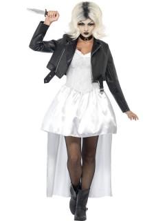 Chuckys Braut Halloween Damenkostüm weiss-schwarz