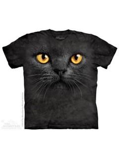The Mountain Big Face Black Cat T-Shirt schwarz-gelb