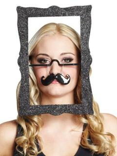 Bilderrahmen Spass-Brille Moustache silber-schwarz