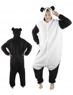 Einteiler Panda Unisex-Kostüm schwarz-weiss
