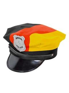 Polizei-Mütze Deutschland Flagge Fussball-Fanartikel schwarz-rot-gelb