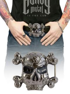 Gürtelschnalle Skull mit Knochen silber