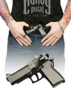 Gürtelschnalle Pistole grau-schwarz 10x15cm
