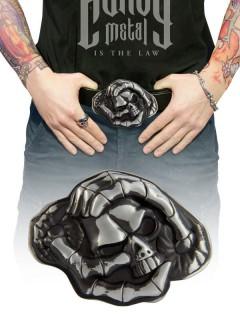 Gürtelschnalle Skull und Hände silberfarben 8x11cm
