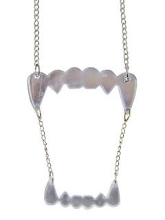 Gothic Halskette Vampirzähne silber