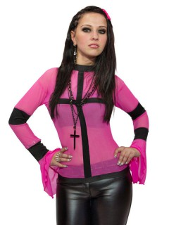 Transparentes Gothic-Shirt GoGo-Shirt pink-schwarz