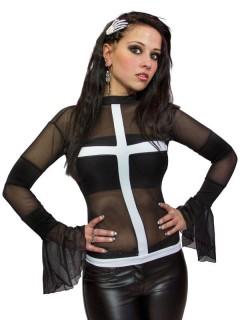 Gothic-Shirt für Damen mit Kreuz schwarz-transparent-weiss
