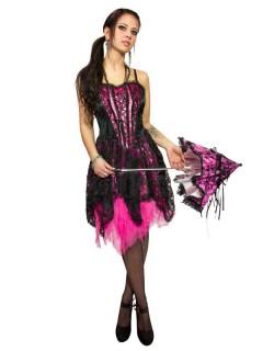 Edles Corsagen-Kleid Gothic-Kleid Burlesque schwarz-pink
