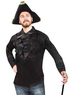 Gothic Satin-Rüschenhemd schwarz