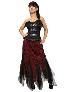 Gothic-Spitzenrock Tüll Halloween schwarz-rot