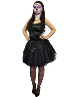 Gothic Mini-Kleid Schleifen schwarz