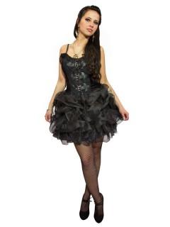 Gothic-Korsagenkleid für Damen Minikleid mit Rüschen schwarz