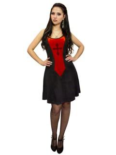 Sexy Gothic-Kleid mit Kreuz-Motiv schwarz-rot
