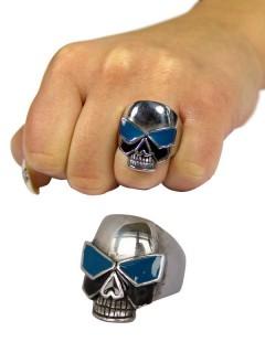 Gothic Metal Ring Totenkopf mit Brille silber-blau