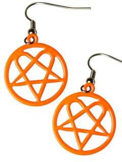 Pentagramm Gothic-Ohrringe neonorange