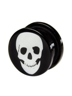 Plug Totenkopf schwarz-weiss 17mm