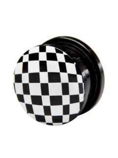 Plug Schachbrett schwarz-weiss 19mm