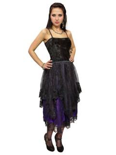 Gothic Samt-Kleid oder Rock schwarz-lila