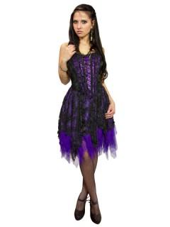Hexenkleid Corsagenkleid im Gothic Stil schwarz lila