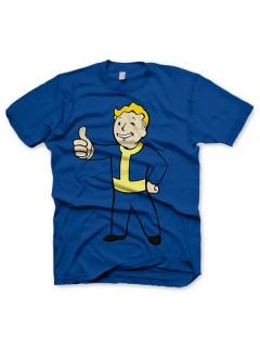Fallout-Fanshirt Gamer-Shirt Vault Boy-Motiv blau