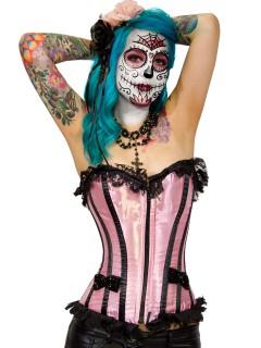 Burleska Gothic Vollbrust-Corsage Lucy rosa-schwarz