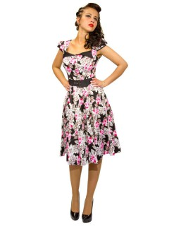 Hearts and Roses Rockabilly 50er Petticoat-Kleid Blumen schwarz-rosa-weiss