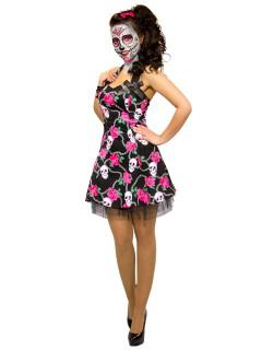 Hearts and Roses Rockabilly 50er Petticoat-Kleid Skull schwarz-pink-weiss