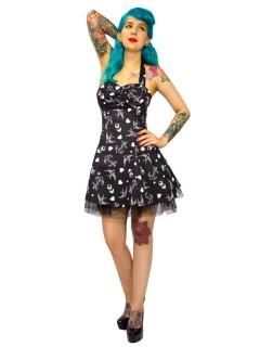 Hearts and Roses Rockabilly 50er Petticoat-Minikleid Tattoo schwarz-weiss