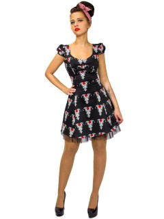 Hearts and Roses Rockabilly 50er Petticoat-Kleid Tribal schwarz-rot