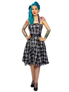 Hearts and Roses Rockabilly 50er Petticoat-Kleid Karo schwarz-weiss