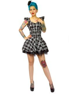 Rockabilly Petticoat-Minikleid Karo Herzen und Rosen schwarz-weiss
