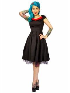 Hearts and Roses Rockabilly 50er Petticoat-Kleid schwarz-rot