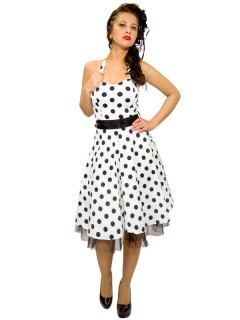 Hearts and Roses Rockabilly 50er Petticoat-Kleid Dots weiss-schwarz