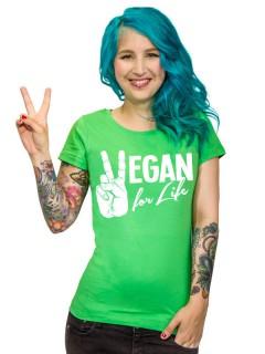 Veganer-Damenshirt Girlie-Shirt Vegan for Life grün-weiss