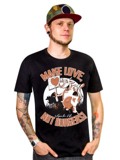 Veganer-Shirt T-Shirt Make Love not Burgers schwarz-orange-weiss